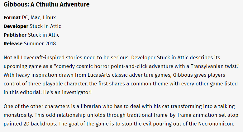Gibbous in Gameinformer! - Gibbous: A Cthulhu Adventure Blog!